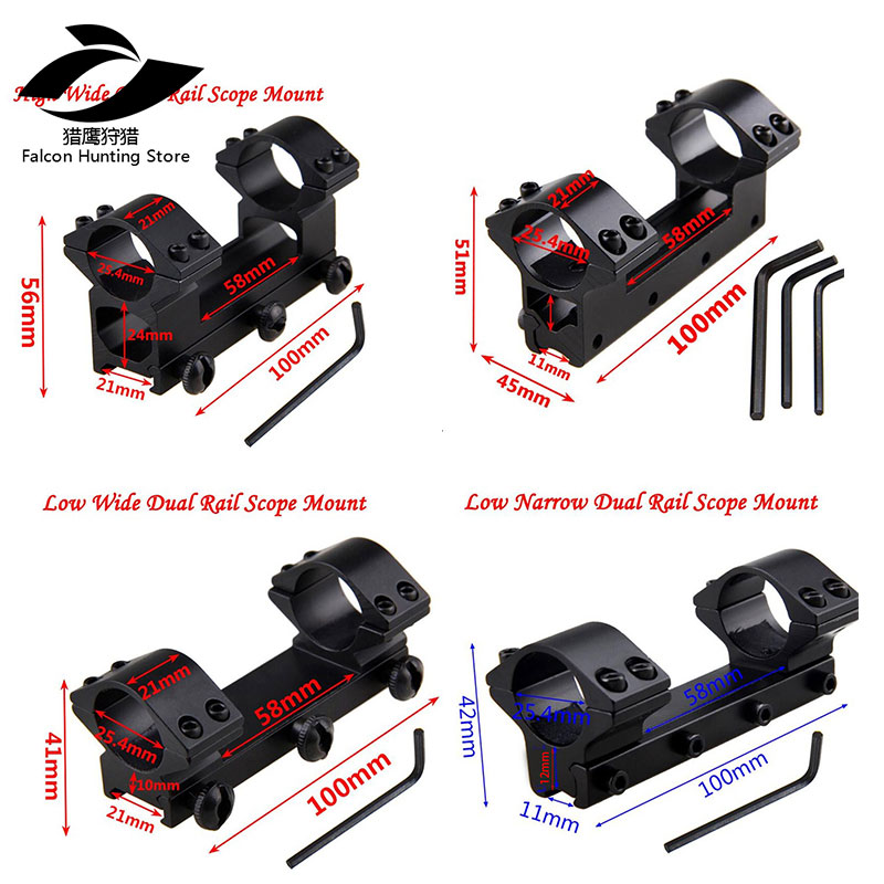 Tactical Scope Dovetail Mount  Dual Rail High Low Wide Narrow Ring Rifle Optical Sight Bracket Scope Mount Adapter