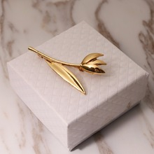 Simple Vintage Broches Mujer Pin flower Leaf Brooch Gold Color Brooches Pins Exquisite Collar For Women Dance Party Accessories