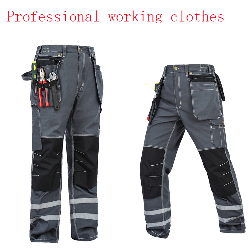 2018 Working Pants Reflective Strip Multi-pockets Work Trousers With Knee Pads Wear-resistance Workwear Safety Mens Cargo Pants mens work pants safety pants military more pockets zipper trousers outdoors overalls army pants electrician auto repair workers
