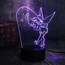 Led Fairy Lights Night Princess Touch Sensor 7 Color Changing Child Kids Decorative Lamp Gift Bedside Desk 3d Lamp Tinker Bell france football paris sg lampe 3d lamp 7 changement de couleurs touch sensor table desk lamp atmosphere bedside lights 3d 727
