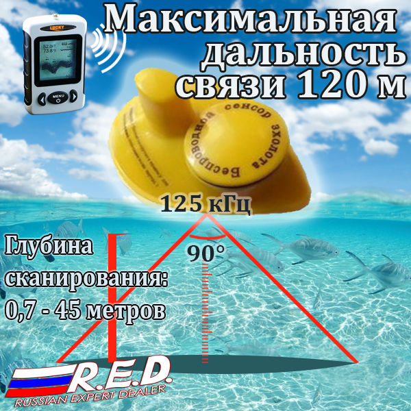 Russian LUCKY Fish Finder Wireless Sonar Sensor 131ft / 40M Digital Wireless Fishfinder With Waterproof Bag Эхолот для рыбалки