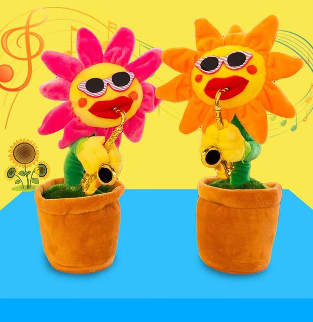 Funny Electric Toys for Kids 60 songs Singing Dancing Flower Enchanting  Sunflower with Saxophone Stuffed Plush Christmas Gift-in Electronic Pets  from
