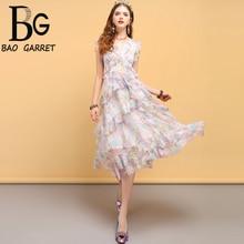 купить Baogarret Fashion Designer Summer Vintage Dress Women's Sexy V-Neck Ruffles Bow Tie Floral Printed Elegant Vacation Dresses дешево