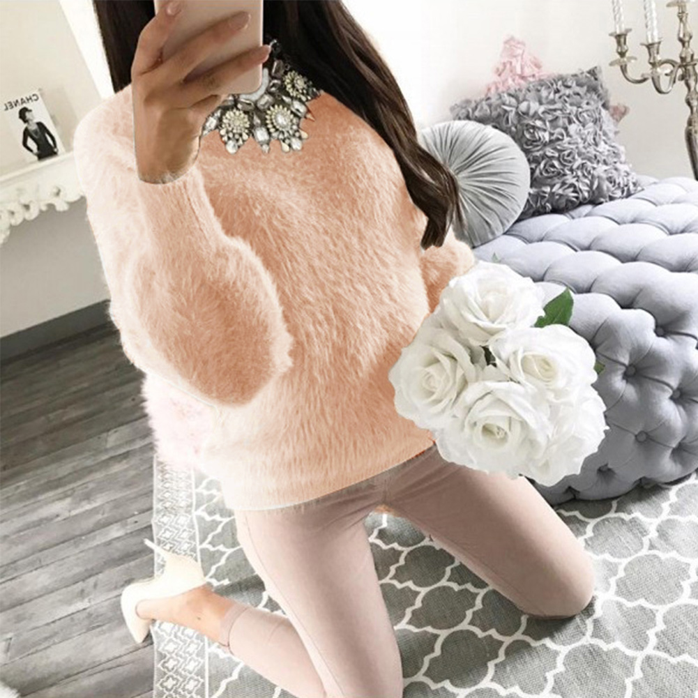 ON SALE Fashion Women Clothes Fur Sweater Winter Warm Elegant Lantern Long Sleeve Sweater Pullover Fleece Sweater
