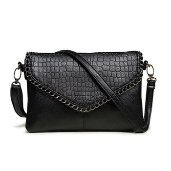 cute small black Women Fashion Leather Plaid Flap Bag Alligator Pattern Handbags Lady Shoulder Bags Straps Envelope Bag for Girl
