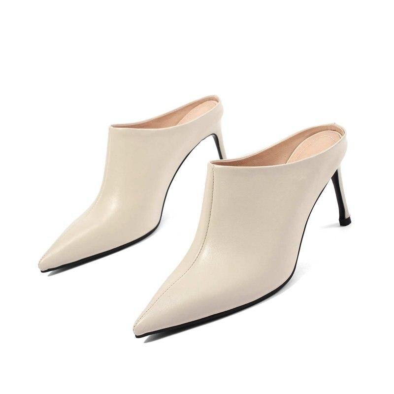 Véritable Nouvelle Femmes Bout Arrivée Cuir Office Noir 2018 Haute Pompes Pointu Slingbacks blanc D'été Concise Chaussures L66 Lady Sur Mules Slip Talons vEXdwxxq5