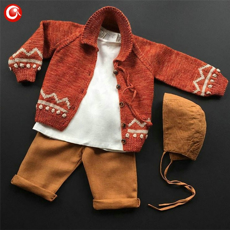 Children Girls Cardigan Orange Baby Boys Cotton Sweater Button Kids Warm Knitted Wear Clothes Crochet Coat Clothing 1-4Y (7)