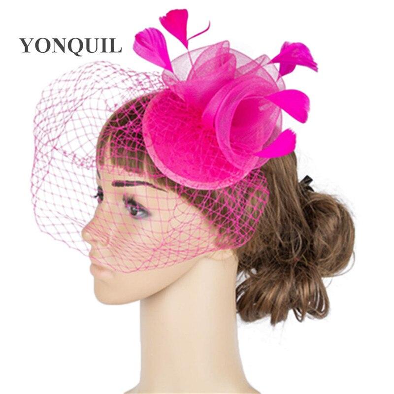 Дерби украшение с перьями аксессуары для волос 3 розы с птичьей клеткой украшения Свадебные вуали вечерние шапки несколько цветов - Цвет: Hot pink
