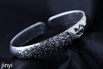 KJJEAXCMY jewelry, 999 Silver Silver Peacock silver silver bracelet back to the ancients.