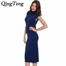 Qingteng Для женщин трикотажные водолазки с длинным Платья-свитеры кашемир тонкий Sleevelesss зима по колено женский длинный свитер жилет