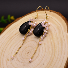 GLSEEVO Natural Black Onyx Long Drop Earrings Fish Hook 925 Sterling Silver Earrings Handm