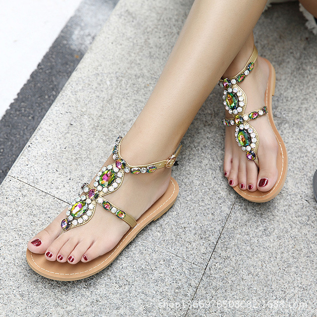 2019 Woman Sandals Women Shoes Rhinestones Chains Thong Gladiator Flat  Sandals Crystal Chaussure Plus Size tenis feminino 3163 db8949ea8c9d