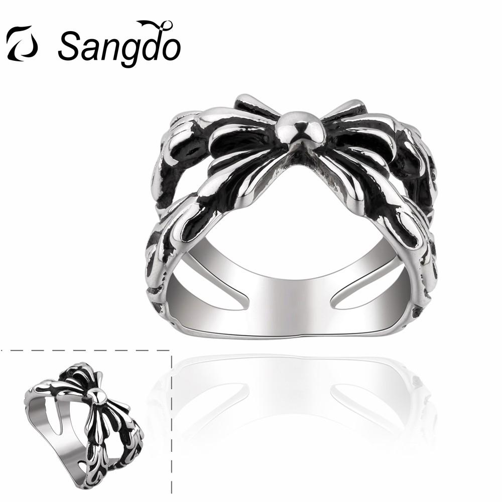 Sangdo Hot Selling 316L Stainless Steel Punk Wide Band Finger Ring Men Boys Perfect Xmas Birthday Gift Retro Jewelry ZK30
