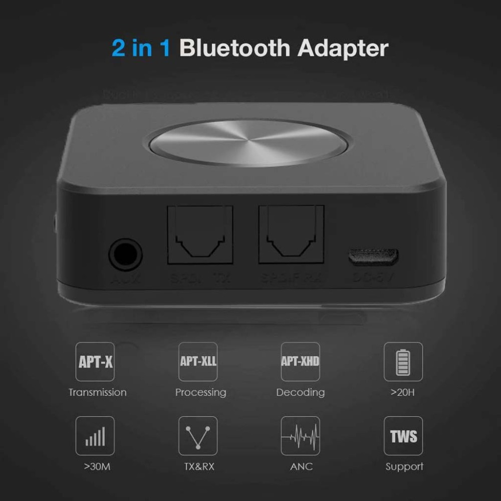 Bluetooth 5.0 Transmitter Receiver 2in1 Wireless APTX HD Low Latency A2DP Music Optical SPDIF Aux RCA 3.5mm Stereo Audio Adapter