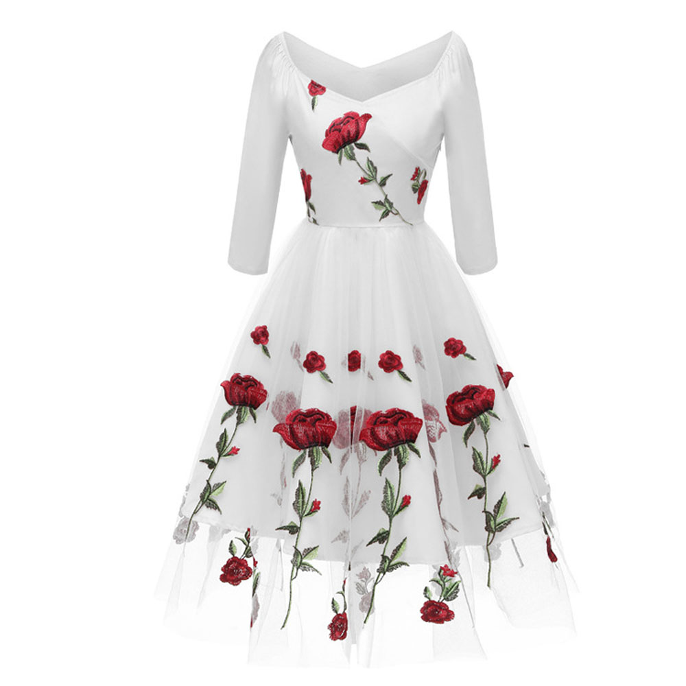 e38a27b874a ... Rose Embroidery Retro Vintage Pleated Women Party Dress Mesh 3 4 Long  Sleeve V Neck ...