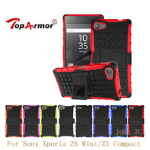 "Z5 TopArmor Para Sony Xperia Compact/Z5 Mini E5803 E5823 4.6 ""Case Capa Heavy Duty PC + TPU à prova de Choque Híbrido Armadura Hard Cases(China)"