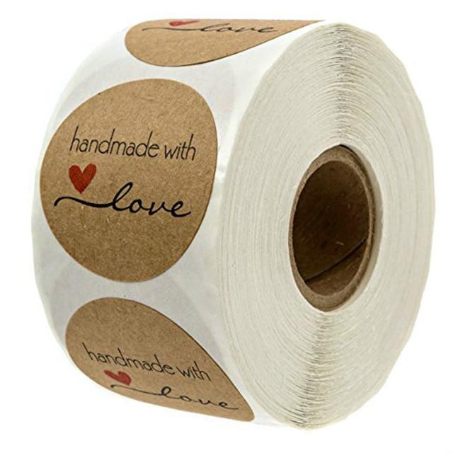 500 pcs Polegada Rodada Kraft Natural Feito À Mão com Amor Adesivos obrigado adesivos para decoração do partido decoração de casamento Adesivos