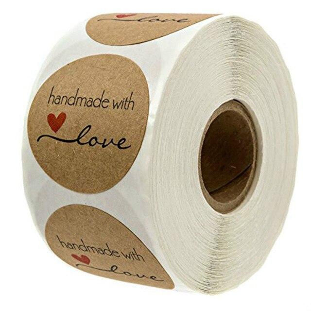 500 шт дюймовый круглый натуральный крафтовый ручной работы с любовными наклейками Спасибо наклейки для свадебного украшения вечерние наклейки для украшения