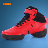 Red Modern Dance Shoes Leather Women Increased Soft Dancing Shoes Women S Square Dance Shoes Jazz