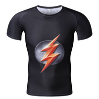 ZBW1 Compression The Flash Style T Shirts Bodybuilding Tights Fitness Casual O Neck Short Sleeve High