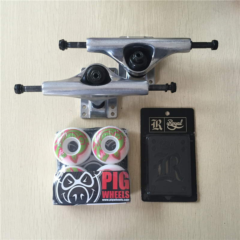 2016 Free Shipping Skateboard Parts Blank Aluminum 5 Skate Trucks And PIG Skate Wheels Plus Riser Pad Gift 2016 free shipping skateboard royal aluminum 5 25 skate trucks and diamond pu wheels element abec 7 bearings skateboarding