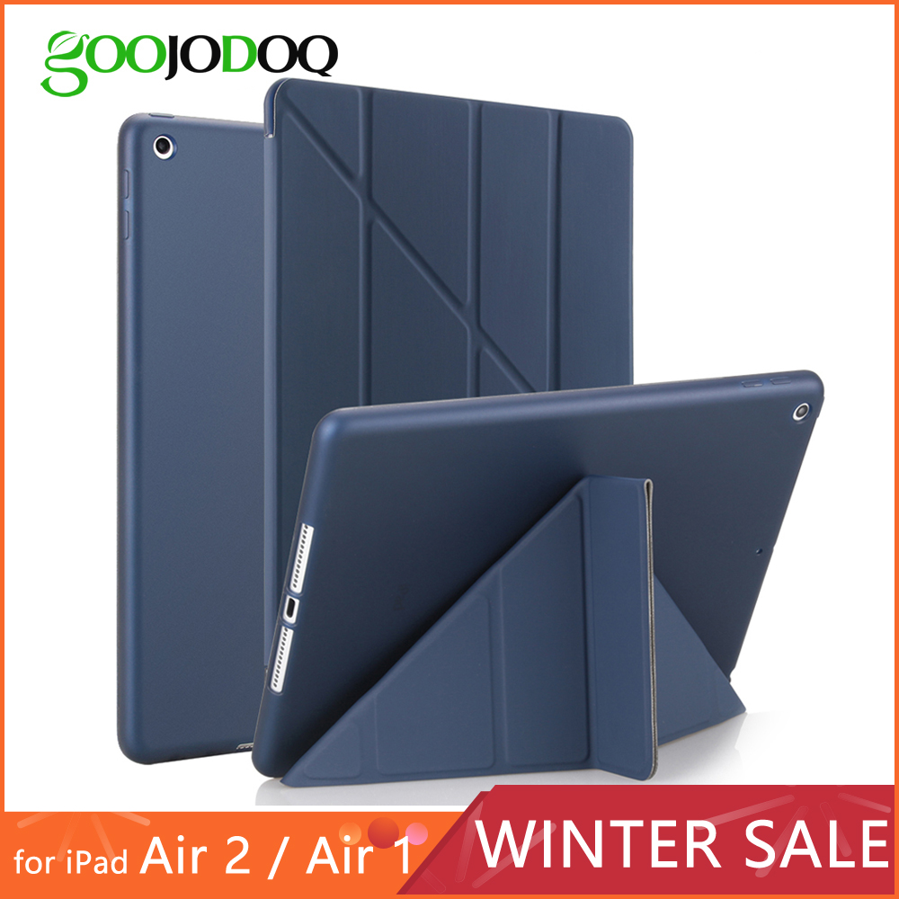 Za iPad Air 2 Air 1 Zadeva silikonski mehko nazaj Ultra Thin Slim PU usnje Smart pokrov za Apple iPad Air Case [Multi-Fold Stand]