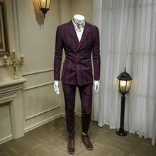 XM GEEKI, мужской повседневный костюм, куртки, весенние блейзеры, облегающие мужские костюмы из двух предметов, мужской двубортный костюм в красную клетку, 365wt38
