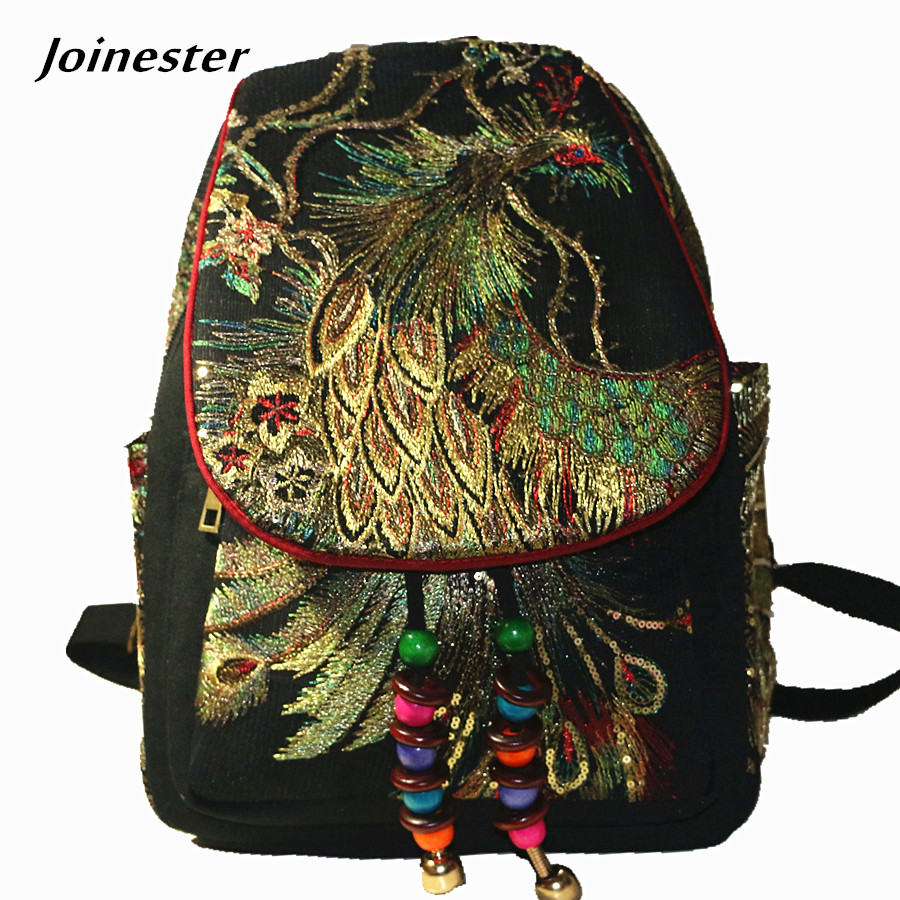 Vintage Women Bag Backpack Canvas Backpack For Girls Floral Embroider Retro Small Travel College Daypack Casual Rucksack Bags