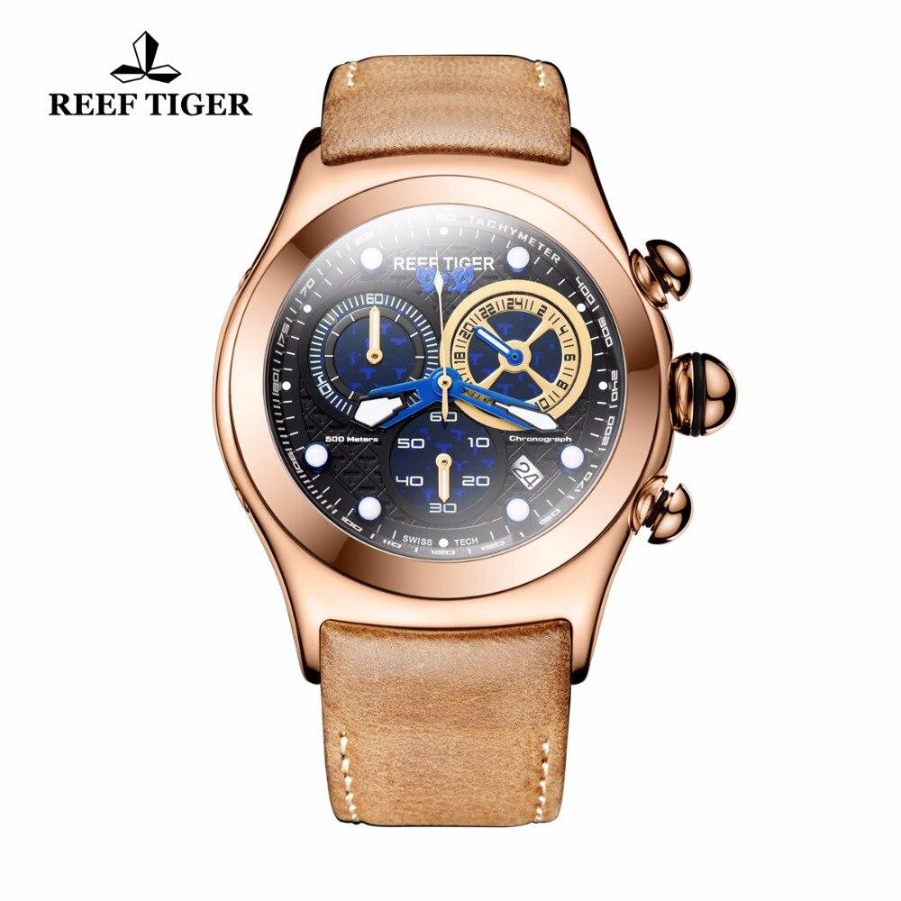 Reef Tiger/RT Men's Sport Watches Chronograph Date Luminous Skeleton Quartz Rose Gold Watches RGA782 вспышка для фотокамеры 2xyongnuo yn600ex rt yn e3 rt speedlite canon rt st e3 rt 600ex rt 2xyn600ex rt yn e3 rt