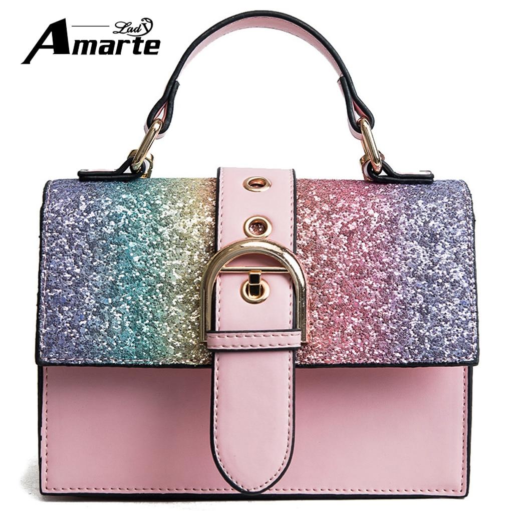 Amarte 2018 Hottest Pu Leater Bag Women Luxury Bags Rainbow Color Handbags Woman Famous Brand Chain Shoulder