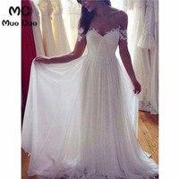 Vintage 2018 Beach Wedding Dresses with Appliques Lace Dresses For Wedding vestido de noiva Tulle Off Shoulder Bridal Gowns