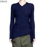 LXUNYI Outono Das Mulheres De Lã Cardigan Blusas Asymmetric Inclinado Botões Moda Slim Mulheres Manga Comprida Malhas Camisola Preta