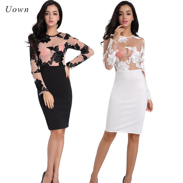 Long Sleeve White Black Sheer Mesh Dress Women Sexy See Through 3D Flower  Applique Bodycon Party