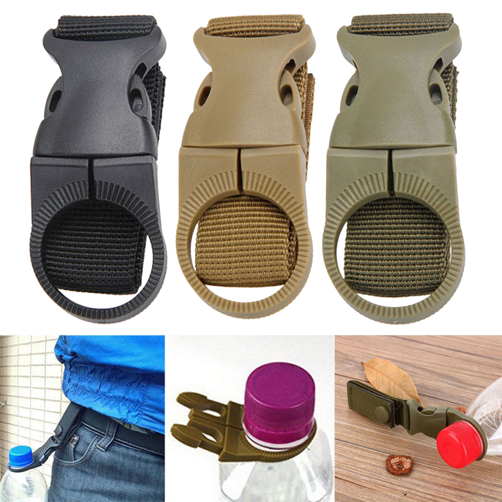 New Water Bottle Holder Clip Camping Hiking Outdoor Tactical Hanging Belt Buckle