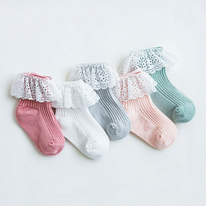 Children Ankle Socks Toddler Kids Girl Lace Fancy Retro Ruffle Frilly Princess Cotton Beauty Solid Cute Soft Lovely Sock New