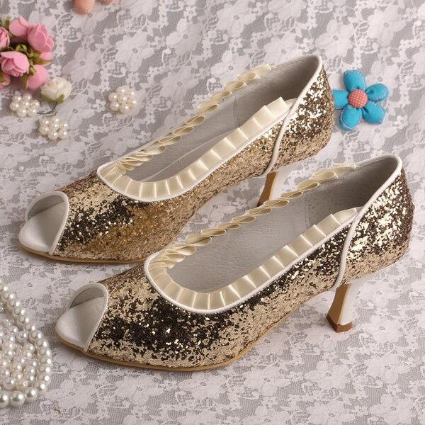 ФОТО Wedopus MW219A Prom Shoes Mid Heel Court Shoes Gold Glitter