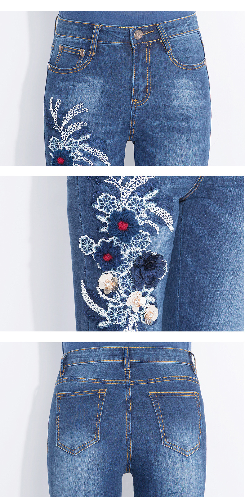 FERZIGE Women's Jeans High Waist Elasticity Slim Fit Push Embroidered Denim Jeans Appliques Flowers