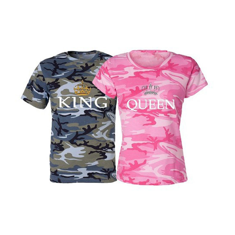 KING QUEEN Printed Camouflage Female T Shirt Couple T Shirt for Lovers Men T Shirt Women