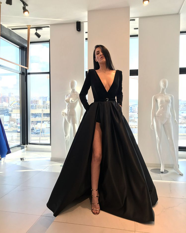 Black Robe De Soiree 2019 A-line Deep V-neck Long Sleeves Slit Sexy Elegant Long Prom Dresses Prom Gown Evening Dresses