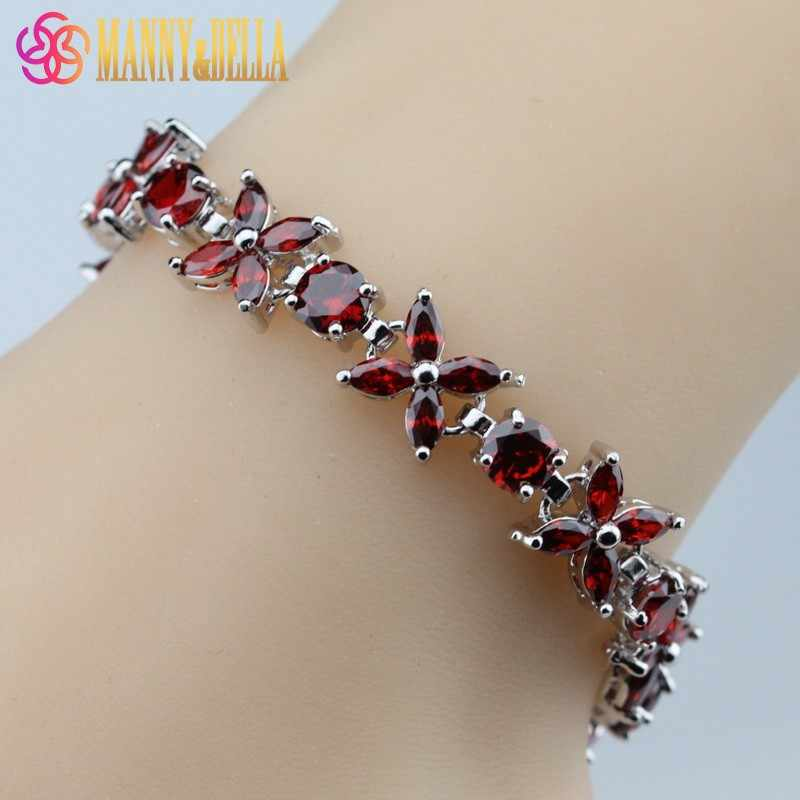 Fabulous Red Garnet 925 Sterling Silver Bracelet Health Fashion  Jewelry For Women Free Jewelry Box SL66