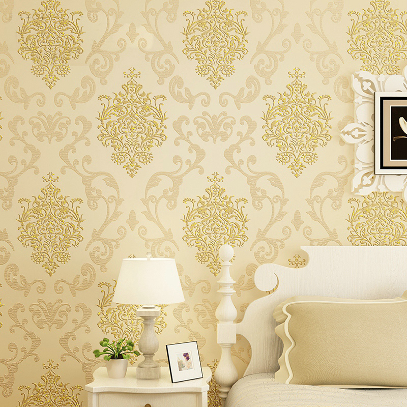 ФОТО 0.53x10m Cheap  golden floral pattern embossed non-woven wallpaper living room bedroom TV background wallpaper Decoration N12