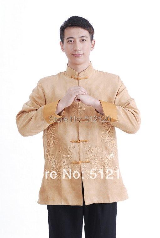 Shanghai histoire nouvelle vente veste chinoise pour hommes vêtements traditionnels chinois double dragon veste en daim veste