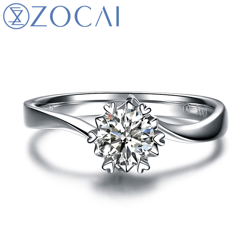 ZOCAI HJÄRT PRONG 100% NATURAL REAL 0.19 CT CERTIFIED F-G / VS ROUND CUT PT950 DIAMOND ENGAGEMENT RING W03338