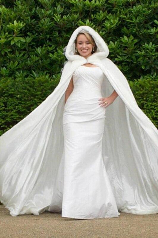 Fur Wedding Jackets Capes Cloak Bolero White Bridal Coat Cap Winter Warm Chaqueta Hood Wedding Accessories Coprispalle Capa
