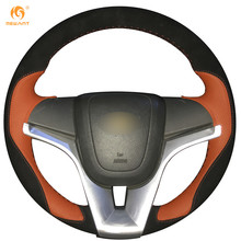 MEWANT Black Suede Orange Leather Car Steering Wheel Cover for Chevrolet Cruze 2009-2014 Aveo 2011-2014 Holden Cruze 2010