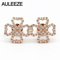 AULEEZE May Mắn Đinh Hương Kim Cương Tự Nhiên Stud Earrings Tim 18 K Rắn Rose Gold Diamond Earrings Đối Với Phụ Nữ Fine Jewelry Quà Tặng