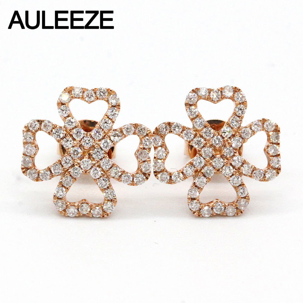 AULEEZE Lucky Clove Natural Diamond Stud Earrings Heart 18K Solid Rose Gold Diamond Earrings For Women