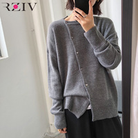 RZIV Fall 2018 Women sweaters oversized solid color casual loose oblique placket design sense single breasted cardigan sweater