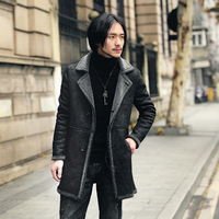 Long Suede Jacket Men With Fur Collar Slim Fit Jacket Faux Leather Men Coat Jaqueta Motoqueiro High Quality Fur Coat Men