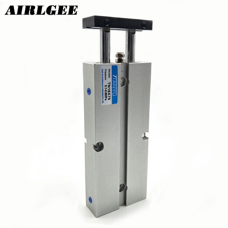 16mm Bore 75 Stroke Aluminum Alloy Dual Rod Guided Pneumatic Air Pressure Cylinder TN16x7516mm Bore 75 Stroke Aluminum Alloy Dual Rod Guided Pneumatic Air Pressure Cylinder TN16x75